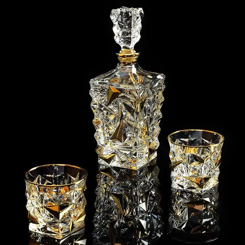 MONTE CRISTO Комплект для виски: графин + 6 стаканов, хрусталь/декор  платина