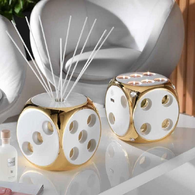 CASINO Подсвечник куб Н20 см, керамика, цвет белый, декор золото, swarovski