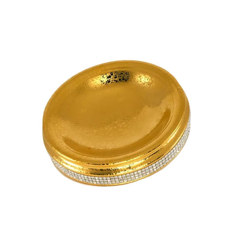 DUBAI Блюдце для украшений 21хН6 см, керамика, цвет белый, декор золото, swarovski