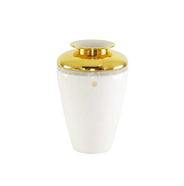 DUBAI Ваза D15хН36 см, керамика, цвет белый, декор золото, swarovski