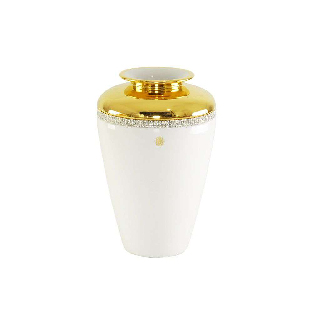 DUBAI Ваза D20хН30 см, керамика, цвет белый, декор золото, swarovski