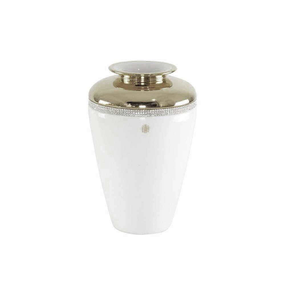 DUBAI Ваза D20хН30 см, керамика, цвет белый, декор платина, swarovski