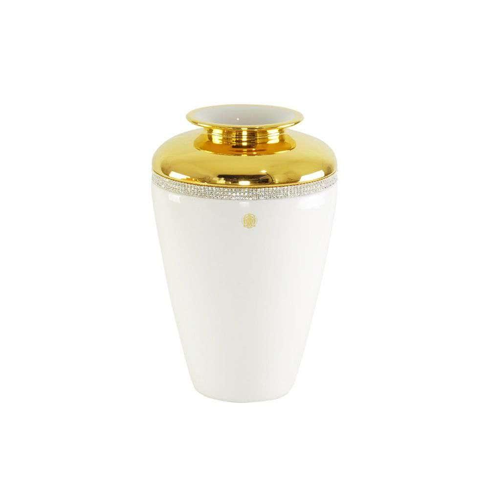DUBAI Ваза D24хН36 см, керамика, цвет белый, декор золото, swarovski