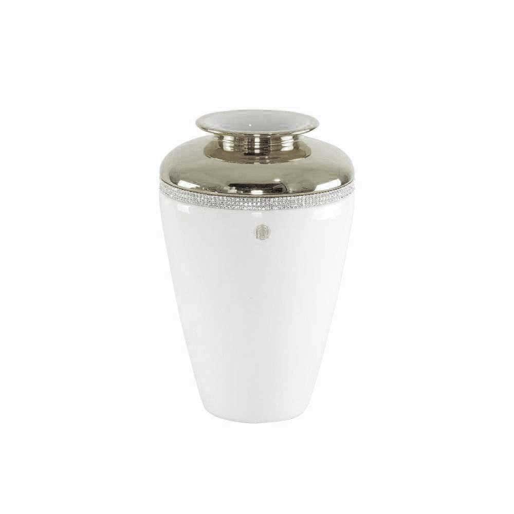 DUBAI Ваза D24хН36 см, керамика, цвет белый, декор платина, swarovski