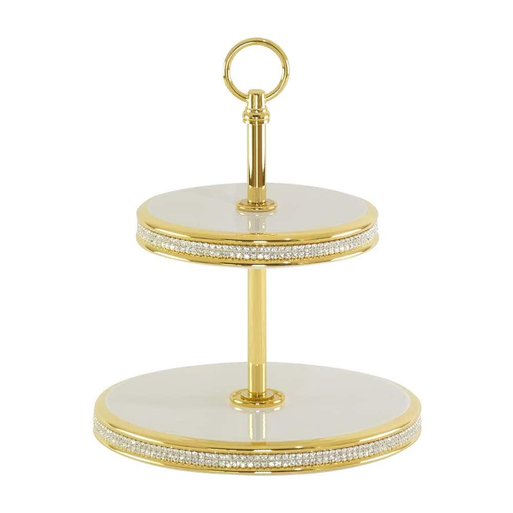 DUBAI Конфетница 2 яруса D24,5хН31 см, керамика/латунь, цвет белый, декор золото, swarovski