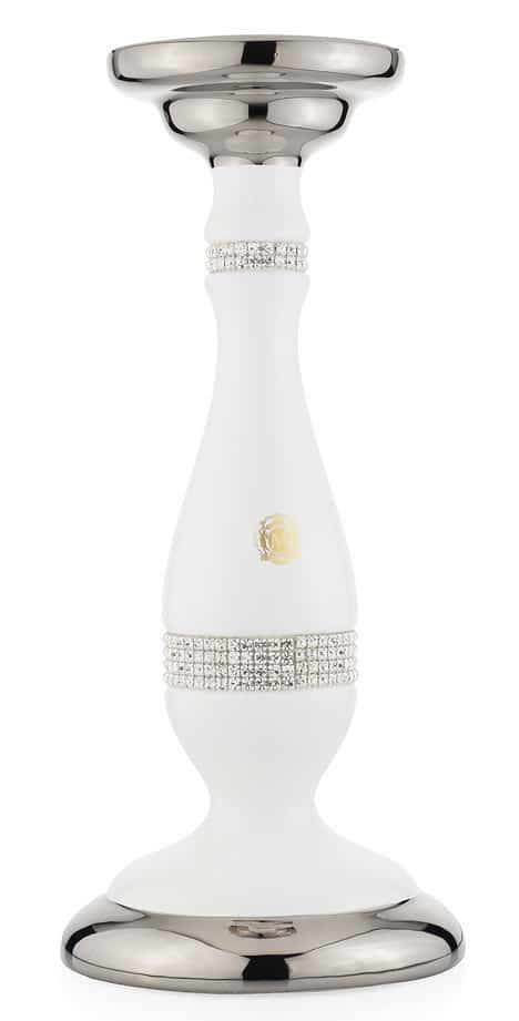 DUBAI Подсвечник одинарный D15хН35 см, керамика, цвет белый, декор платина