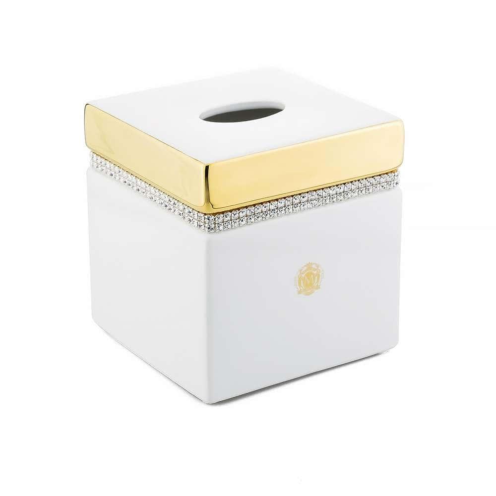 DUBAI Салфетница 13,5x13,5xH14,5 см, керамика, цвет белый, декор золото, swarovski