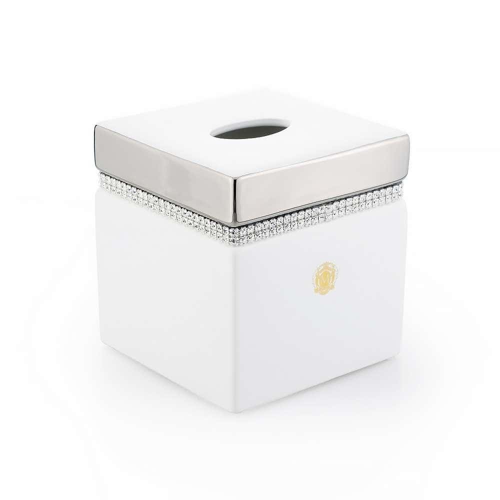 DUBAI Салфетница 13,5x13,5xH14,5 см, керамика, цвет белый, декор платина, swarovski