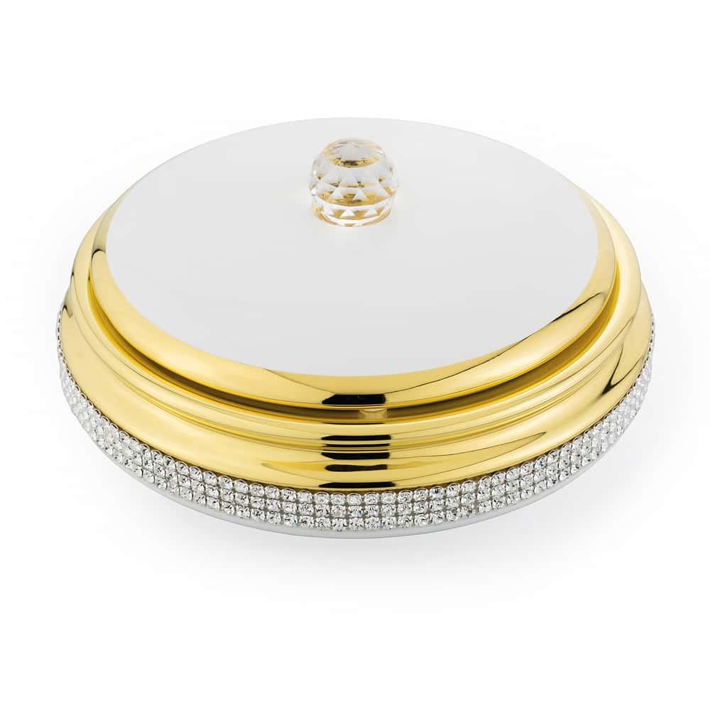 DUBAI Шкатулка 21хН9 см, керамика, цвет белый, декор золото, swarovski