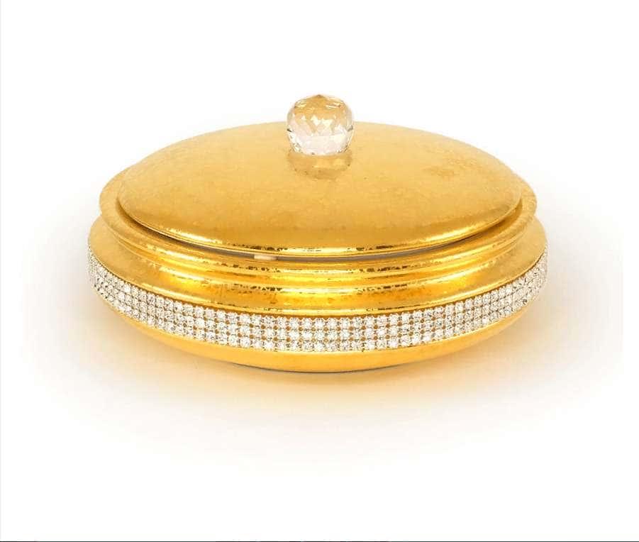 DUBAI Шкатулка 21хН9 см, керамика, цвет и декор золото, swarovski
