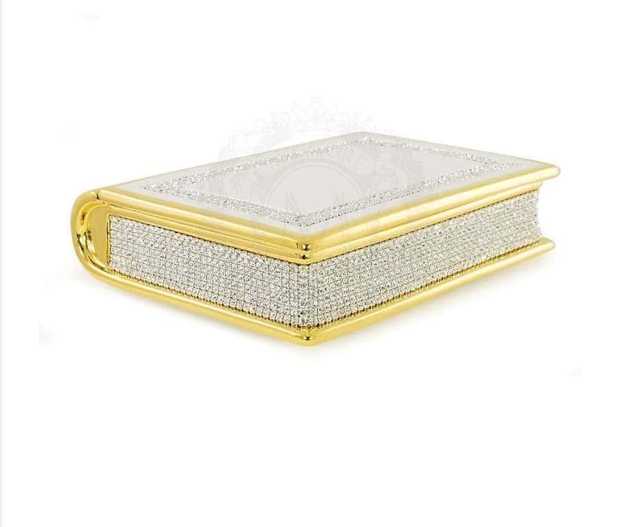 DUBAI Шкатулка книга 24,5х20,5хH.7 см., керамика, цвет белый, декор золото, swarovski