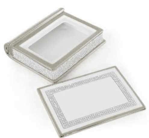DUBAI Шкатулка книга 24,5х20,5хH.7 см., керамика, цвет белый, декор платина, swarovski