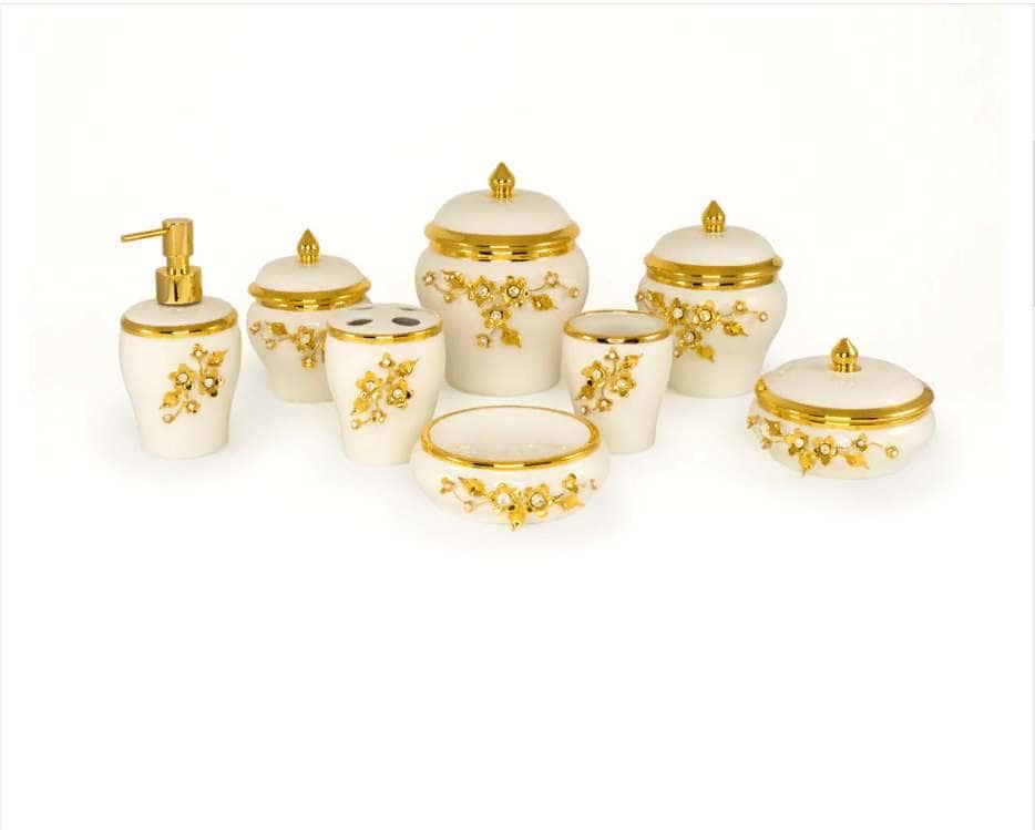 EMOZIONI Баночка с крышкой D13,5хН8,5 см, керамика, цвет белый, декор золото, swarovski