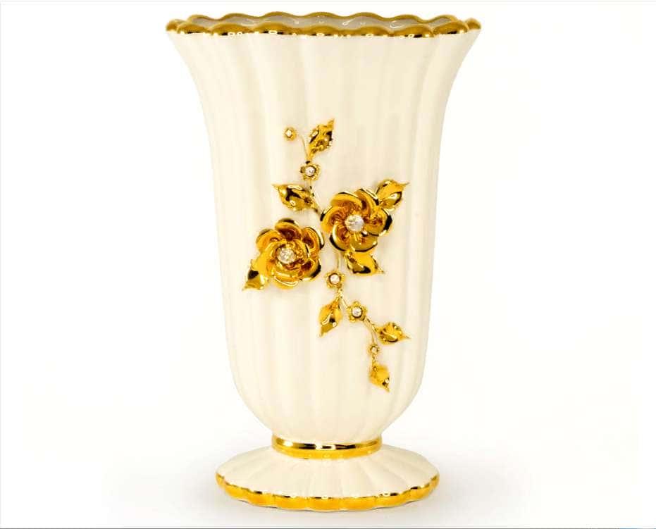 EMOZIONI Ваза 22х17хН35 см, керамика, цвет белый, декор золото, swarovski