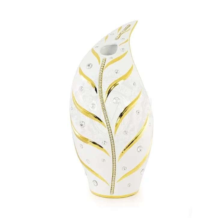EMOZIONI Ваза настольная 21xН.44 см, керамика, цвет белый, декор золото, swarovski