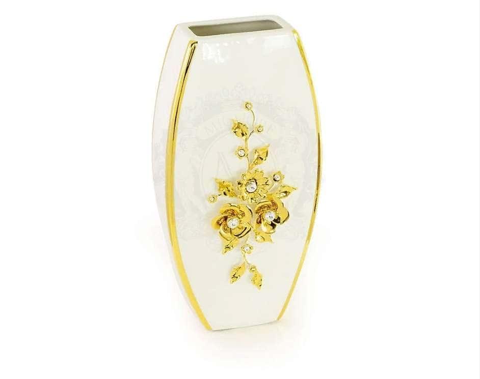 EMOZIONI Ваза, декор цветы 17x8xН.34 см, керамика, цвет белый, декор золото, swarovski