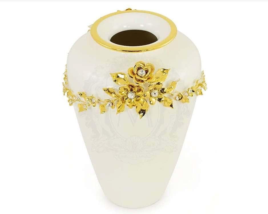 EMOZIONI Ваза, декор цветы 24xН.36 см, керамика, цвет белый, декор золото, swarovski