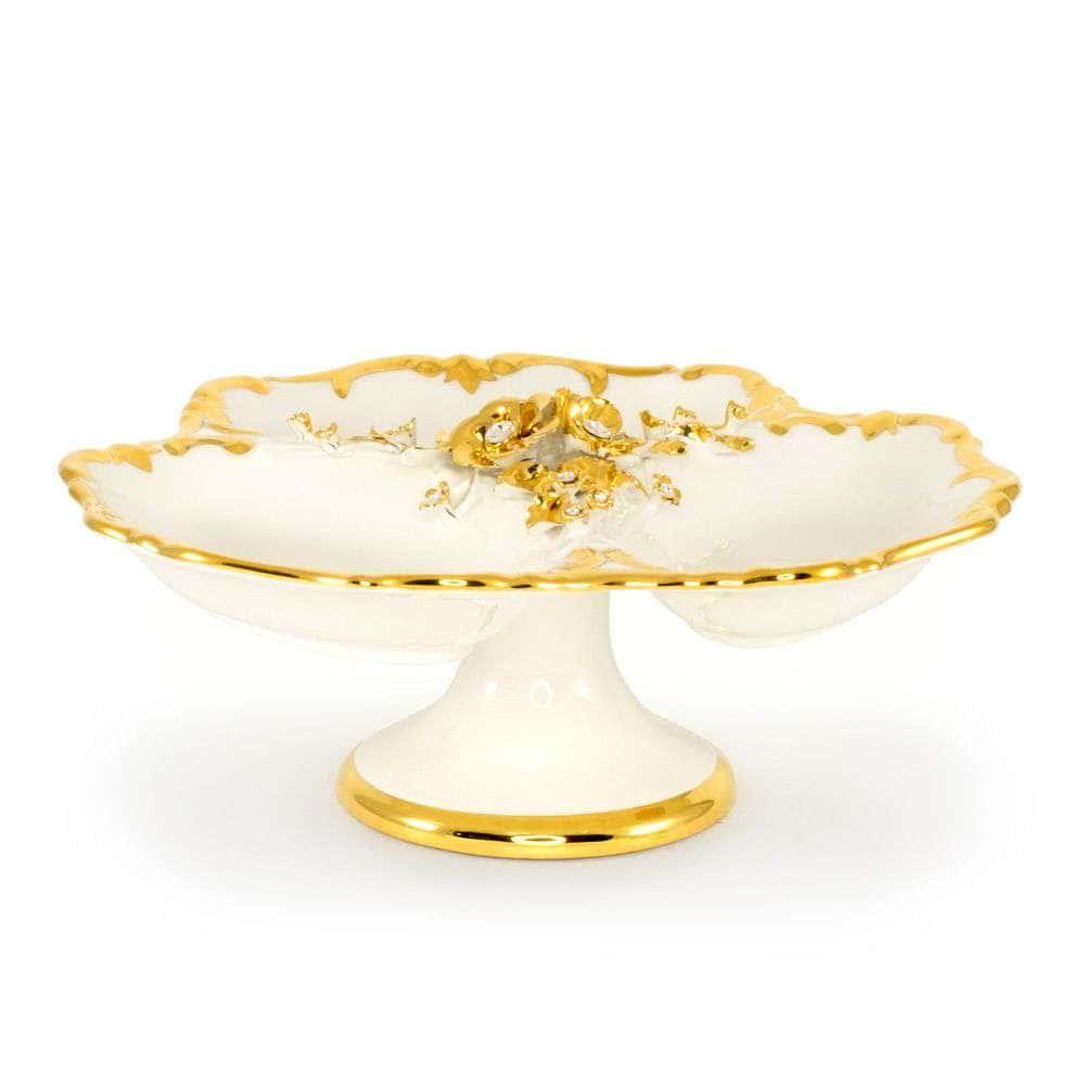 EMOZIONI Менажница d.34хH15 см, керамика, цвет белый, декор золото, swarovski