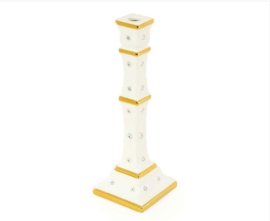 EMOZIONI Подсвечник одинарный Н36 см, керамика, цвет белый, декор золото, swarovski