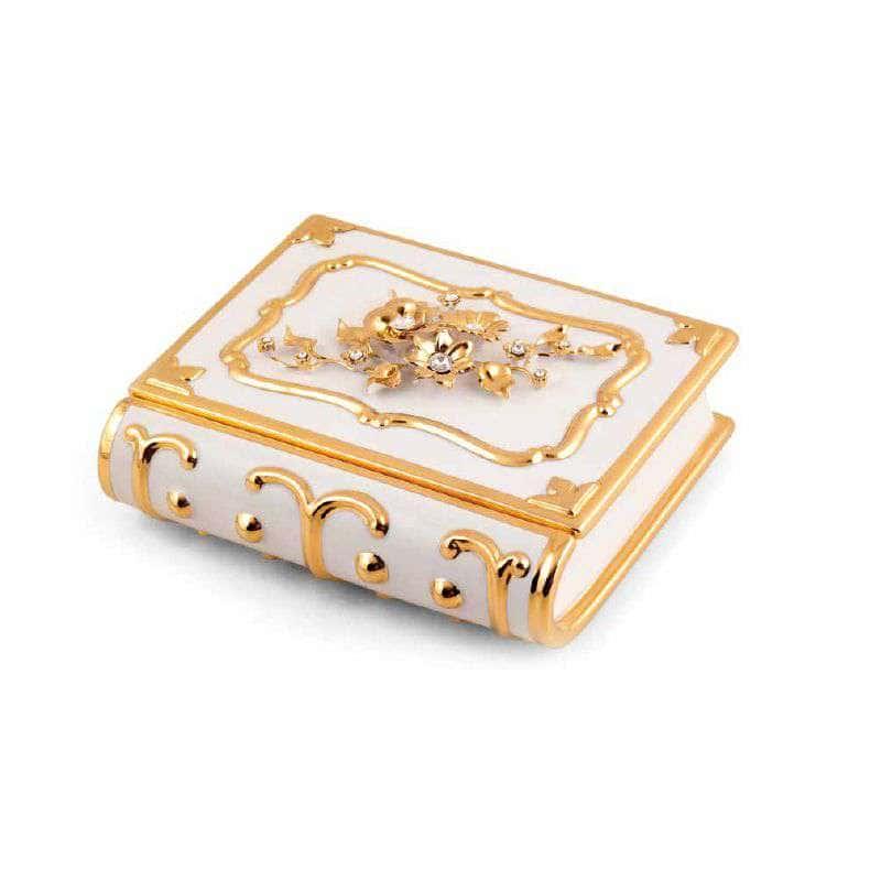 EMOZIONI Шкатулка книга с цветами 24х21хН9 см, керамика, цвет белый, декор золото, swarovski