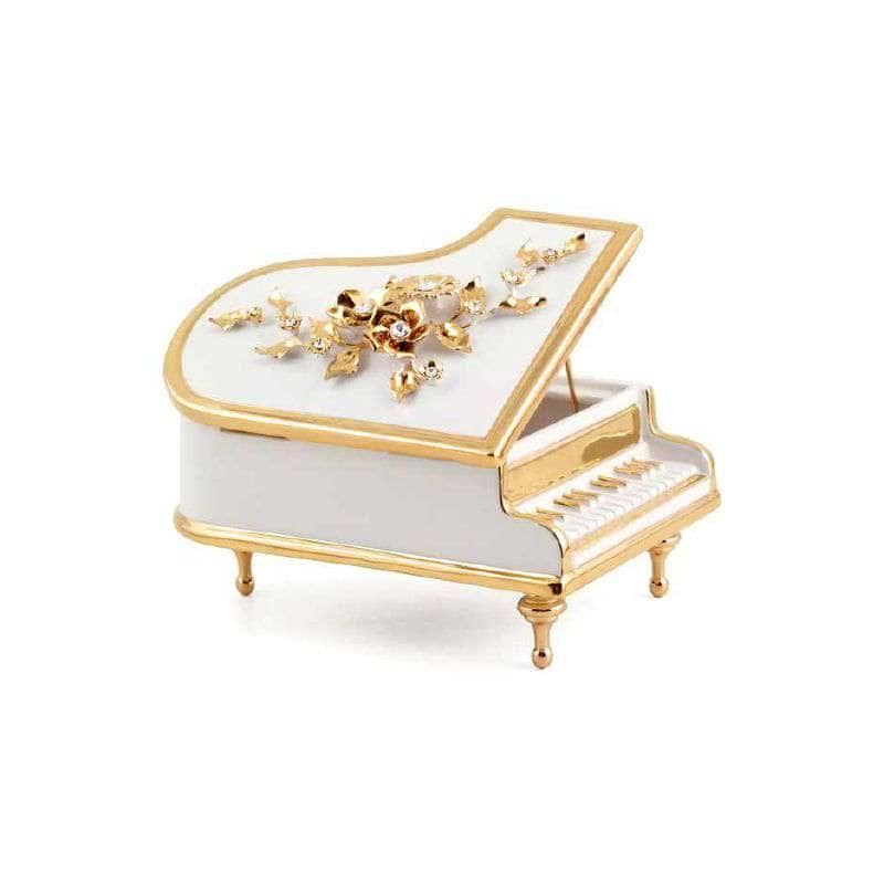 EMOZIONI Шкатулка рояль с цветами 28х20 см, керамика, цвет белый, декор золото, swarovski