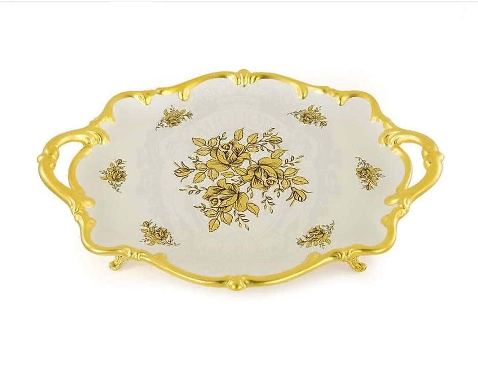 FIORI GOLD Поднос с ручками 46x32xH10 см, керамика, цвет белый, декор золото