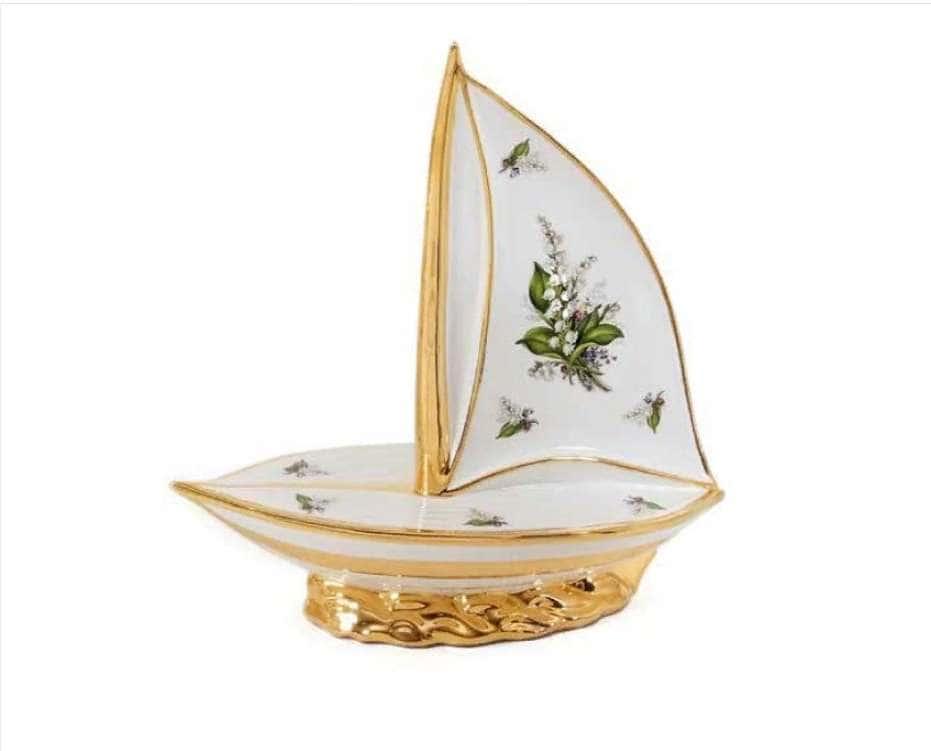 PRIMAVERA Блюдо лодка с парусом 34х14хН36 см, керамика, цвет белый, декор золото