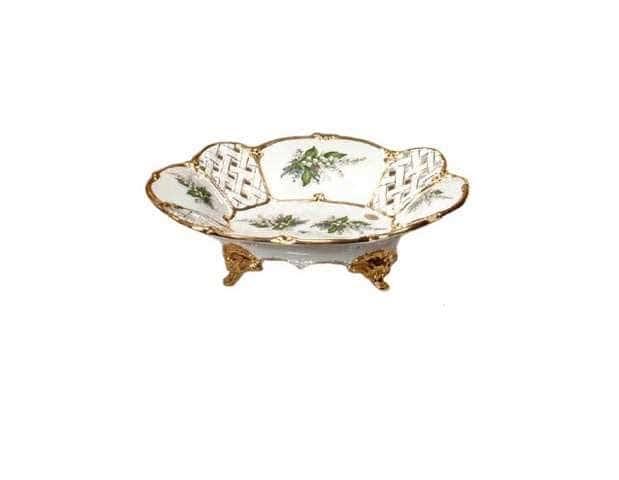 PRIMAVERA Блюдо на ножках 41х32хH12 см, керамика, цвет белый, декор золото
