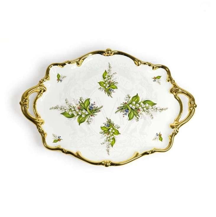 PRIMAVERA Поднос с ручками 46х32хH6 см, керамика, цвет белый, декор золото