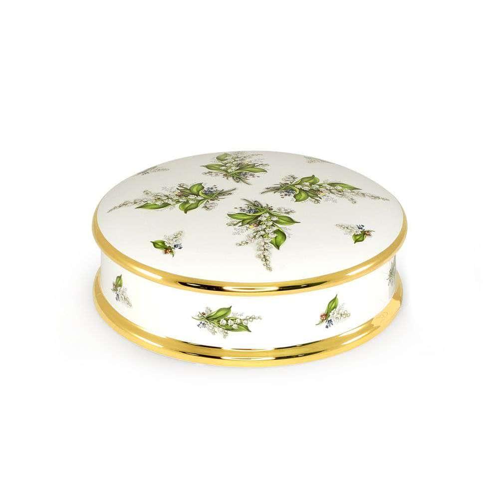 PRIMAVERA Шкатулка D25хH8 см, керамика, цвет белый, декор золото
