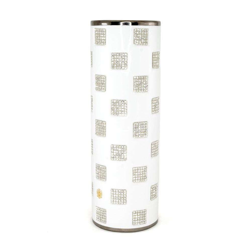 TOKIO Ваза 14хН41,5 см, керамика, цвет белый, декор платина, swarovski