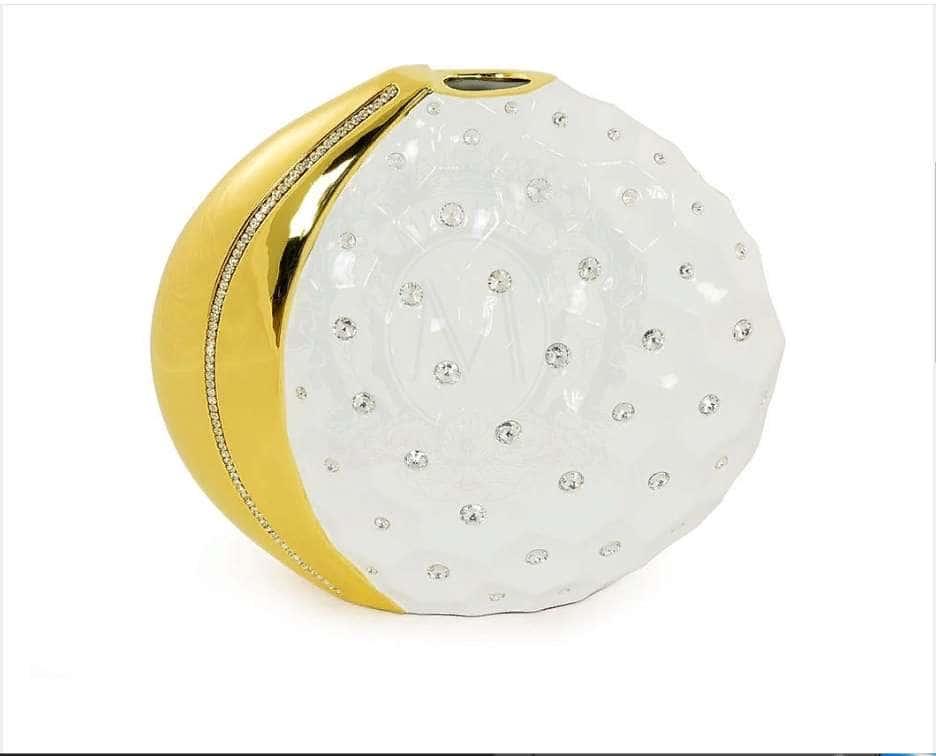 TOKIO Ваза настольная 48xH.40 см., керамика, цвет белый, декор золото, swarovski