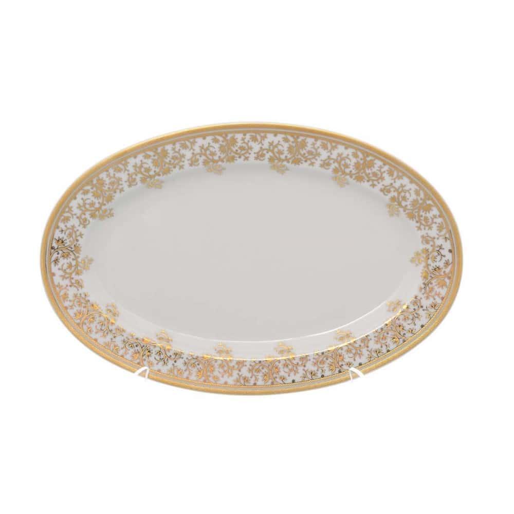 Блюдо овальное Falkenporzellan Constanza cream - Sophie Gold 24 см(1 шт)