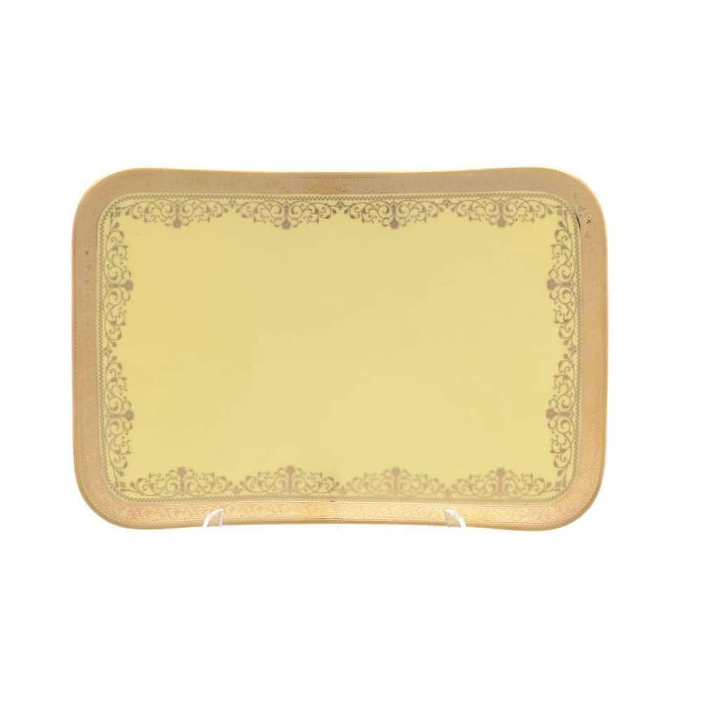 Блюдо Falkenporzellan Maxim Square - Lillet Yellow Gold 25,5 см