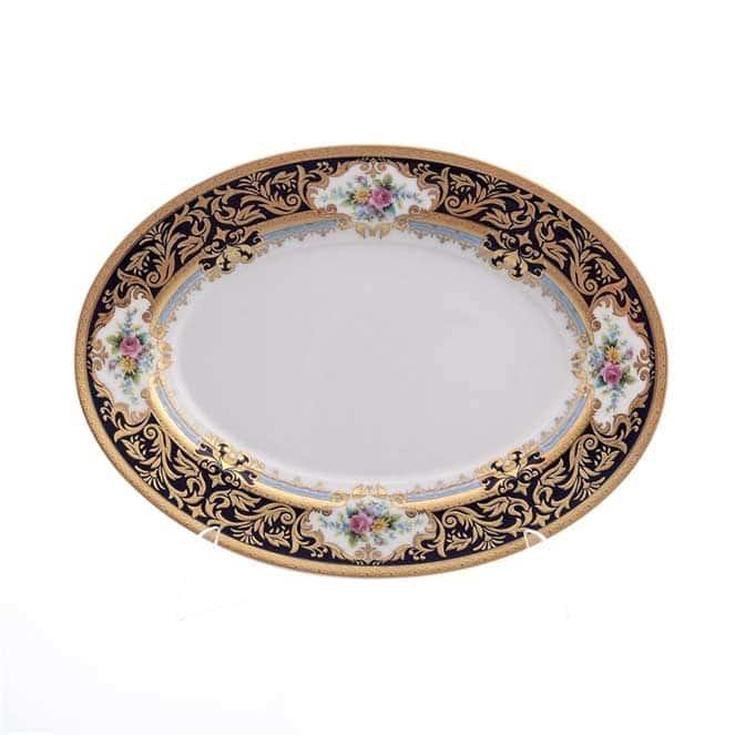 Блюдо овальное Falkenporzellan Opal cobalt gold 24 см