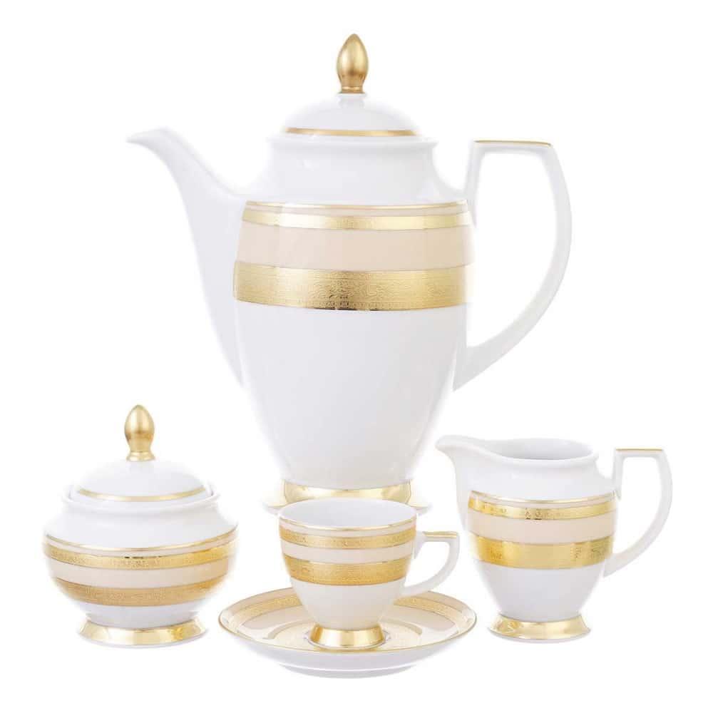 Кофейный сервиз Falkenporzellan Constanza Creme Gold 6 персон 17 предметов
