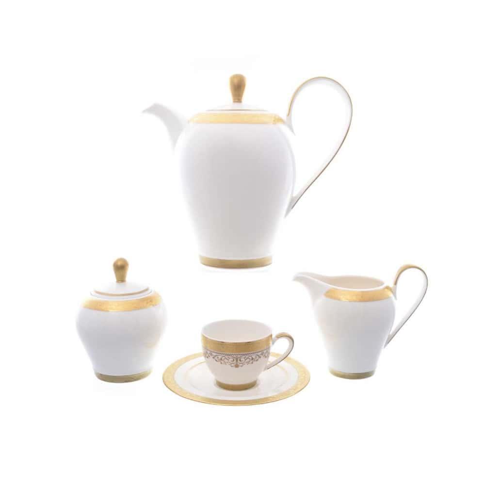 Кофейный сервиз на 6 персон Falkenporzellan Maxim round- Lillet Gold 9 предметов