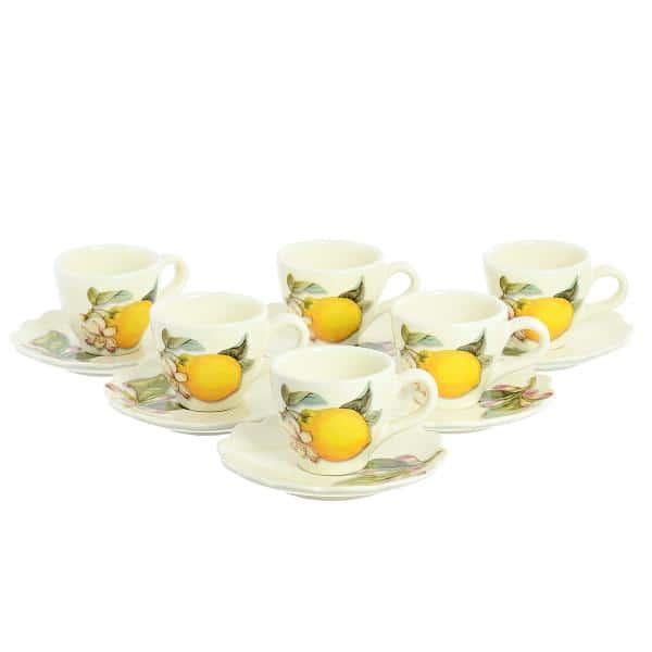 Набор кофейных пар NUOVA CER Лимоны 6 чашек 6 блюдец 12 предметов