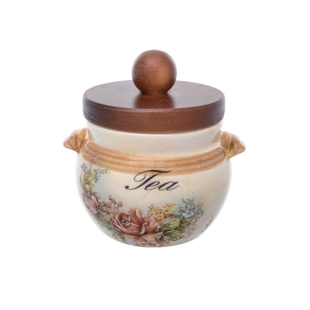 Банка для чая с деревянной крышкой