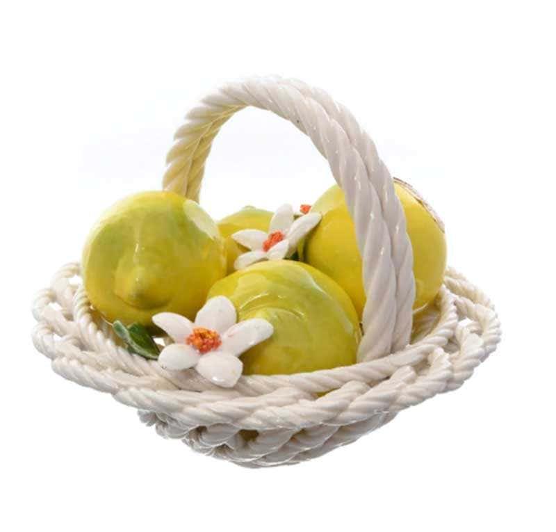 Корзина декоративная круглая Orgia с лимонами 20 см