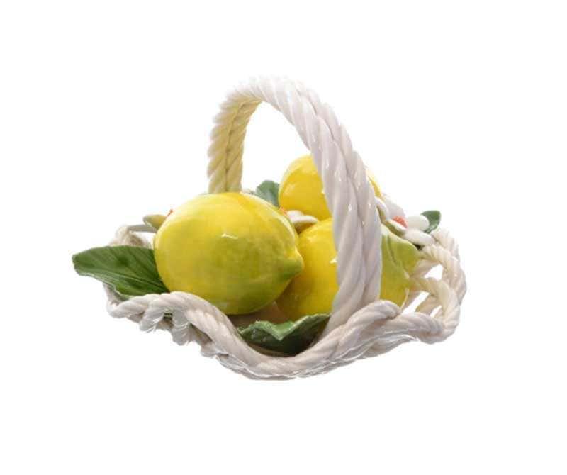 Корзина декоративная с волнистым краем Orgia с лимонами 20 см