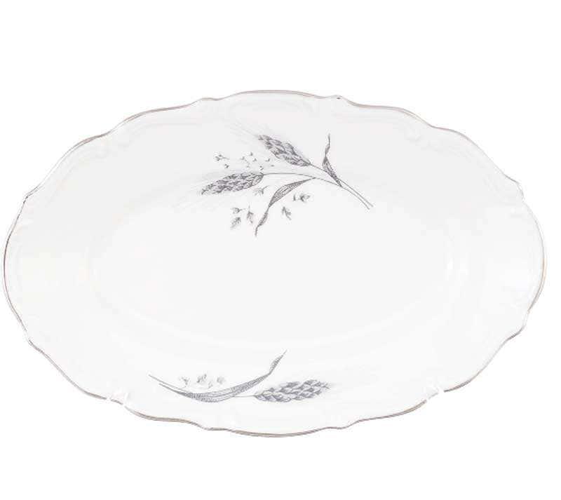 Блюдо овальное плоское Repast Серебряные колосья 22 см