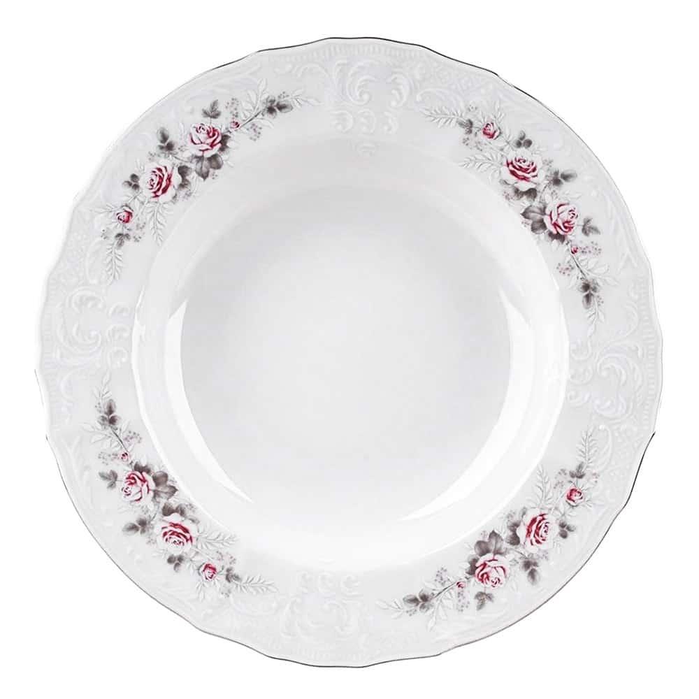 Тарелка глубокая 23 см Серая роза платина Bernadotte