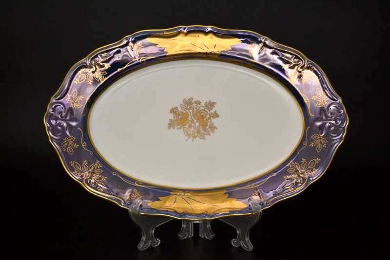Блюдо овальное Мария Луиза Кленовый лист Синний 36 см