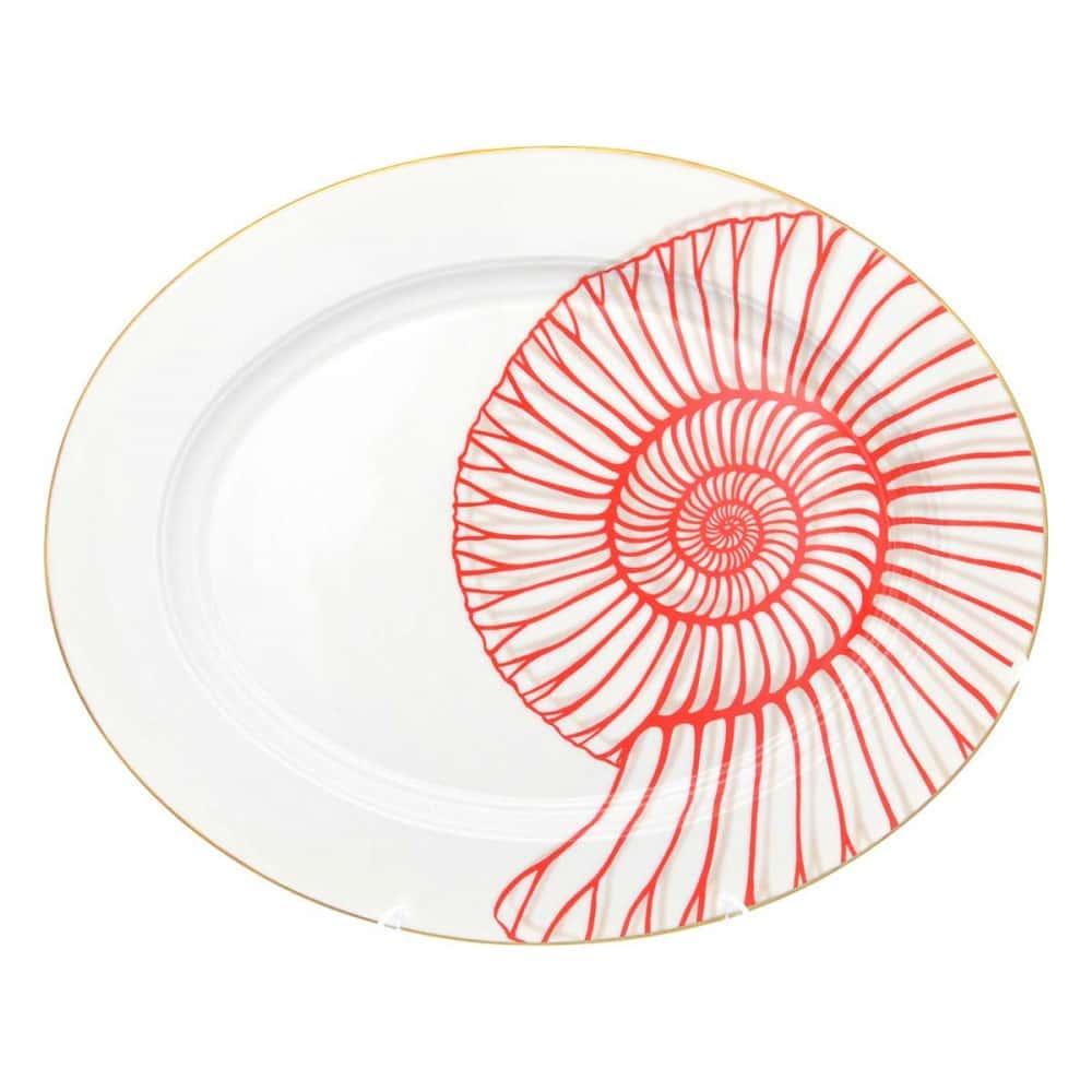 Блюдо овальное Falkenporzellan Corallo Red Gold 36 см