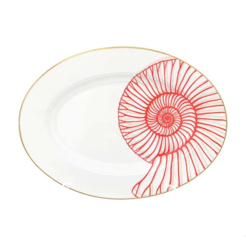 Блюдо овальное Falkenporzellan Corallo Red Gold 24 см