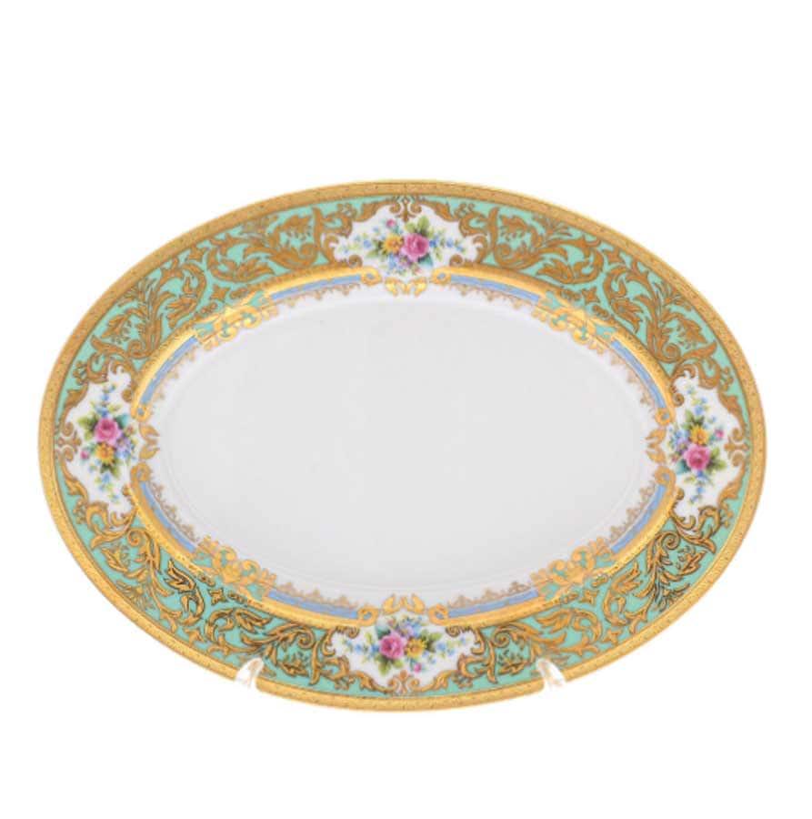 Блюдо овальное Falkenporzellan Opal Seladon Gold 24 см