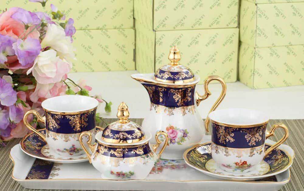 Подарочный набор кофейный Тет-а-тет Мэри-Энн Мелкие цветы кобальт Леандер 0086