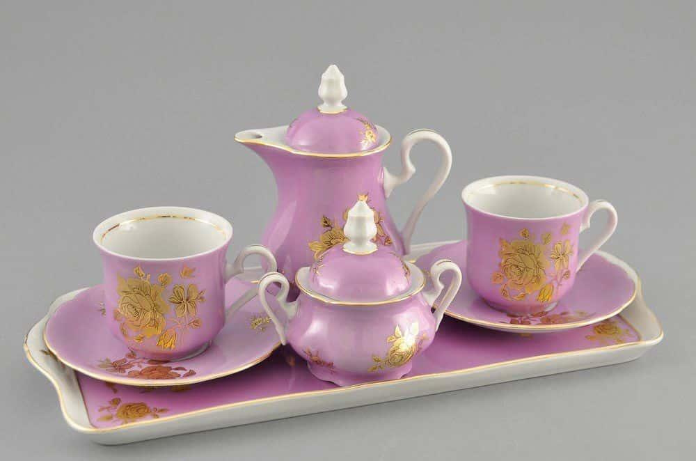 Подарочный набор кофейный Тет-а-тет Мэри-Энн Золотая роза розовый Леандер 287C