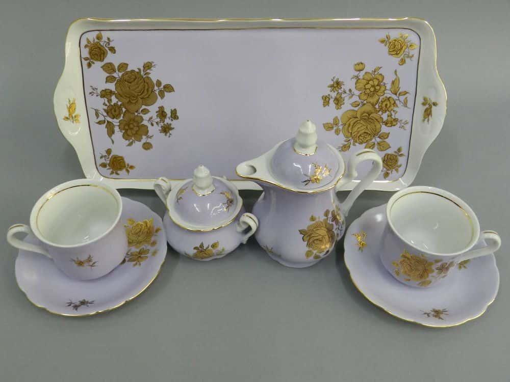 Подарочный набор кофейный Тет-а-тет Мэри-Энн Золотая роза фиолет Леандер 287D